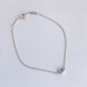 """Tiffany & co. Color by the Yard Bracelet. 6.5"""" long. Silver with aquamarine .06c"""